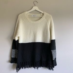 John + Jenn Black and Cream Color Block Sweater
